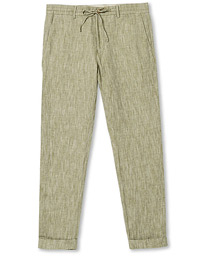 Morris Windslow Linen Turn Up Drawstring Trousers Olive