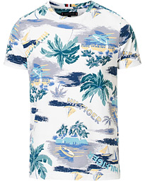 Tommy Hilfiger Summer All Over Print Crew Neck Tee White