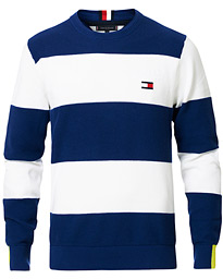 Tommy Hilfiger Neon Tipped Stripe Knitted Crew Neck Blue Ink