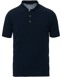 Morris Heritage Short Sleeve Knitted Polo Shirt Navy