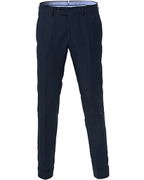 Morris Heritage Fred Linen Turn Up Trousers Navy