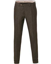 Morris Heritage Fred Linen Turn Up Trousers Brown