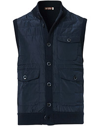 Morris Heritage Knit Quilted Vest Navy
