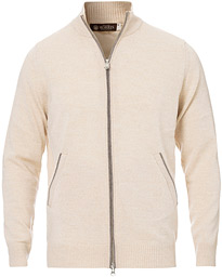 Morris Heritage Contrast Full Zip Cardigan Off White