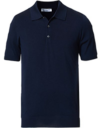 Johnstons of Elgin Superfine Worsted Merino Short Sleeve Polo Dark Navy