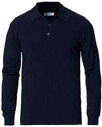 Johnstons of Elgin Superfine Worsted Merino Long Sleeve Polo Dark Navy