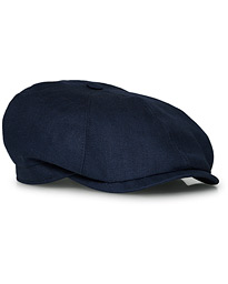 Lock & Co Hatters Summer Newsboy Linen Cap Navy
