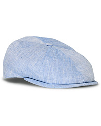 Lock & Co Hatters Summer Reverb Herringbone Linen Cap Light Blue