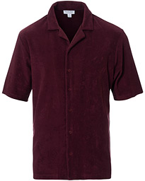 Sunspel Towelling Camp Collar Shirt Maroon