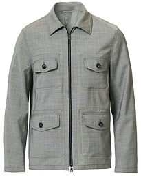 Oscar Jacobson Raf Wool Zip Shirt Jacket Light Grey
