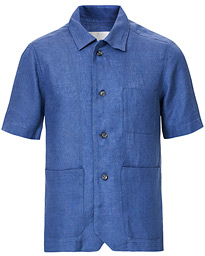 Oscar Jacobson Hanks Short Sleeve Linen Shirt Light Blue