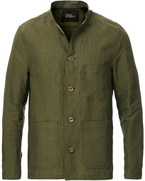 Oscar Jacobson Hannu Linen Shirt Jacket Green