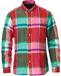 Slim Fit Madras Check Shirt Red/Green Multi