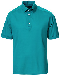 Slim Fit Short Sleeve Pique Shirt Turquoise