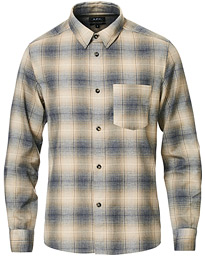 A.P.C. John Over Check Flannel Shirt Navy/Beige