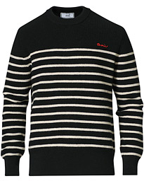 Striped Wool Crewneck Sweater Black/White