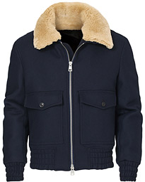 Shearling Bomber Jacket Navy