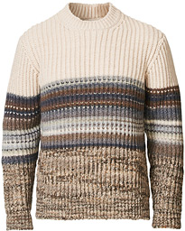 Block Striped Crewneck Sweater Beige