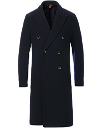 Soft Double Breasted Wool Coat Navy