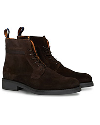 Brookly Zip High Lace Boot Dark Brown Suede
