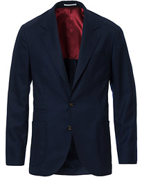 Brunello Cucinelli Super 120s Flannel Patch Pocket Blazer Navy