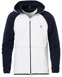 Double Stretch Cotton Hooded Sweater Grey/Navy