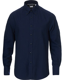 Slim Fit Button Down Flannel Shirt Navy
