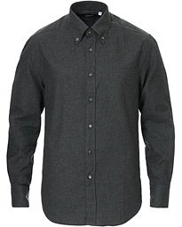 Brunello Cucinelli Slim Fit Button Down Flannel Shirt Charcoal