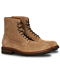 Plain Toe Leather Boot Sand Suede
