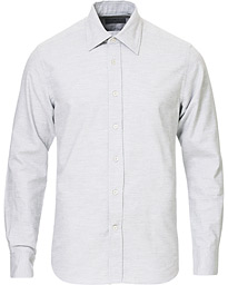 Canali Slim Fit Flannel Shirt Light Grey