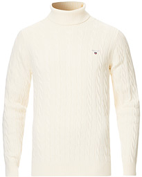 Cotton Cable Turtleneck Cream