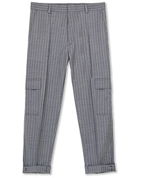 HUGO Falko Striped Turn Up Cargo Pants Silver