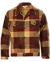 Plaid Corduroy Trucket Jacket Oxblood Plaid Purple