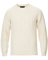 Crew Neck Cable Sweater White