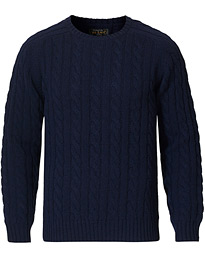 Crew Neck Cable Sweater Navy