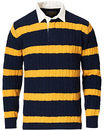 Knitted Cable Rugger Navy/Yellow