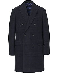 Wool/Cashmere DB Glencheck Coat Navy