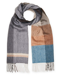 Begg & Co Jura Check Lambswool/Angora Scarf Granite Blue