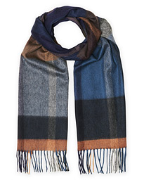 Begg & Co Arran Checked Cashmere Scarf Slate Vicuna
