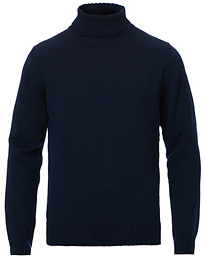 Heavy Knitted Merino Roll Neck Navy