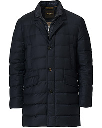Padded Flannel Coat Navy