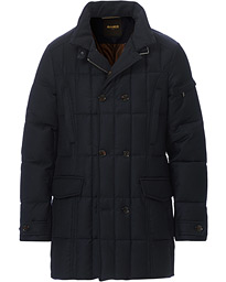 Padded Flannel Double Breasted Coat Navy