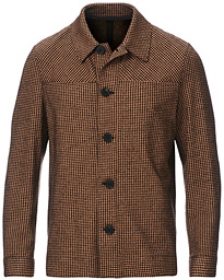Double Pocket Houndstooth Overshirt Caramel
