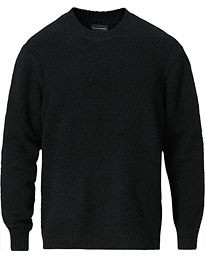 Long Sleeve Boucle Crew Neck Black