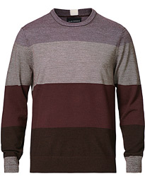 Block Stripe Merino Crew Neck Wine