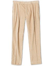 Wild Pleated Cord Trousers Beige