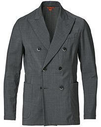 Tropical Wool Double Breasted Blazer Grey