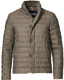 Quilted Linen Down Jacket Brown