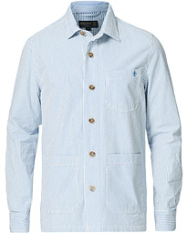 Seersucker Striped Overshirt Light Blue