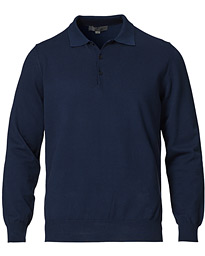 Cotton Long Sleeve Knitted Polo Navy
